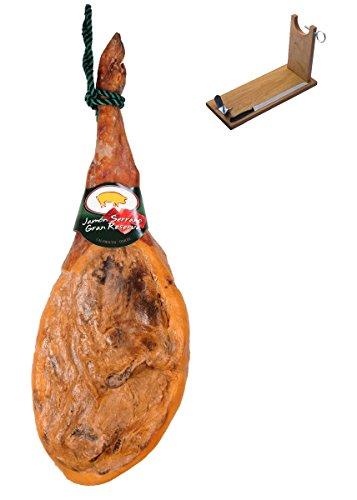 Serrano Schinken Gran Reserva Artysán + Schinkenhalter + Messer 6.8-7.3 Kg | Spanischer Schinken