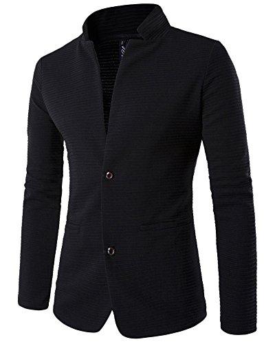 Herren Einreihig Kein Kragen Slim Fit Sakko Blazer Jacket Spleiß Freizeit Buisiness Jacke Schwarz XL (Design Blazer)