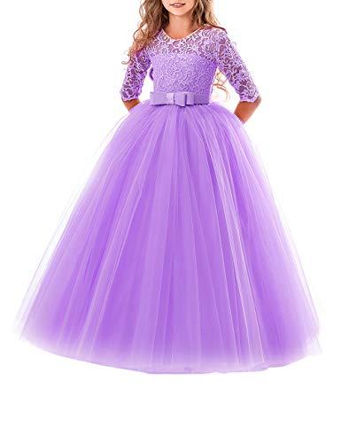 besbomig Prinzessin Hochzeit Blumenmädchen Kleid - Ärmel Klavier Schule Leistung Kostüme Kleider für Mädchen 5 bis 13 Jahre altes Mädchen (Mädchen Hochzeit Kleid Kostüm)