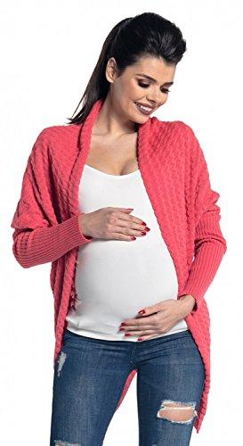 Zeta Ville Femme Maternité. Cardigan en maille de grossesse. Veste Longue. 337c Corail