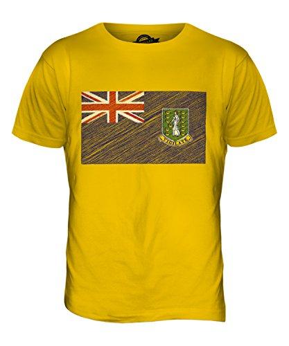 CandyMix Britische Jungferninseln Kritzelte Flagge Herren T Shirt Dunkelgelb