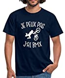 Spreadshirt Je Peux Pas J'Ai BMX T-Shirt Homme, M, Marine