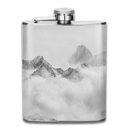Gxdchfj Atmospheric Clouds Linger Around The Peaks of The Swiss Alps After A Spring Snow Storm Gift for Men 304 Stainless Steel Flask 7oz Storm Peak