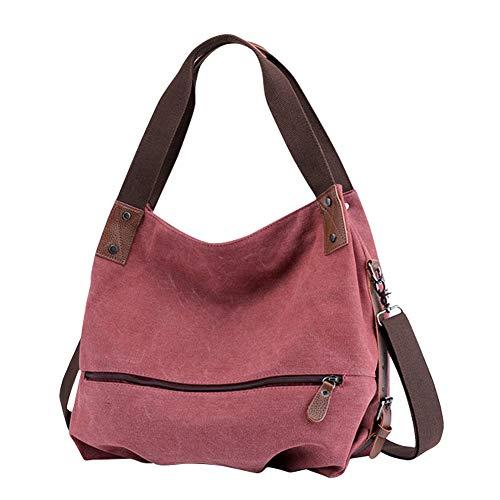 Gindoly Damen Canvas Handtasche Klein Vintage Shopper Schultertasche Henkeltasche Hobo Tasche Beuteltasche Rot EINWEG