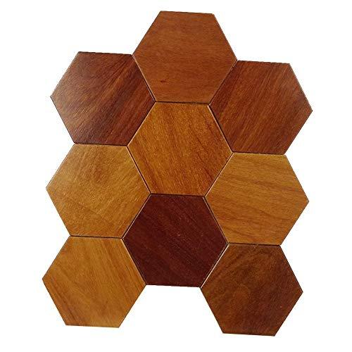 ZHANWEI 3D Wandpaneele Tapete Hexagon Europäischer Stil Stereoskopisch Massivholz Mosaik Wandaufkleber Fußboden Sofa Hintergrundwand (Color : 5 PCS, Size : 300x300mm) -
