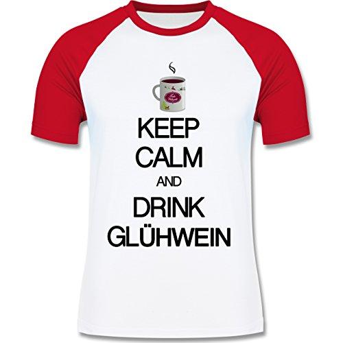 Keep calm - Keep calm and drink Glühwein - zweifarbiges Baseballshirt für Männer Weiß/Rot