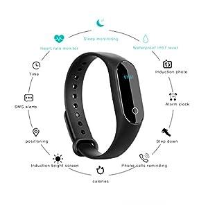 Pulsera Inteligente con Pulsómetro,Parsion HR4 Pulsera Actividad y Monitor de Ritmo Cardíaco Pulsera Deportiva Monitor de Actividad Impermeable IP67 Reloj Fitness Tracker Bluetooth Podómetro para And (A)