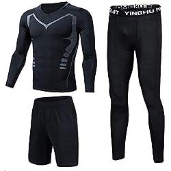 Shengwan 3 Piezas Ropa Deportiva Hombre Camiseta de Compresión Manga Larga + Pantalones de Compresión Mallas Largas para Correr Fitness Negro2 4XL