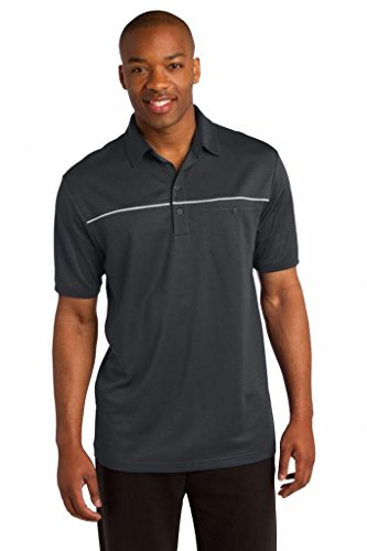 sport-tek Herren Verhakungsfreies Paspel Polo Shirt Iron Grey/ White