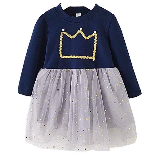 Mbby Abito Bambina Tulle, Vestito Bambini Corona Imperiale Manica Lungo Primaverile Estivi Neonata Abiti Simpatici Eleganti Ragazza Bimba