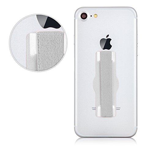 MyGadget Fingerhalterung Smartphone Griff - Aluminium Handy Grip Finger Halter u.a. für Apple iPhone X, 8, 7, 6 Plus, Samsung Galaxy S8, S7 Edge - Silber