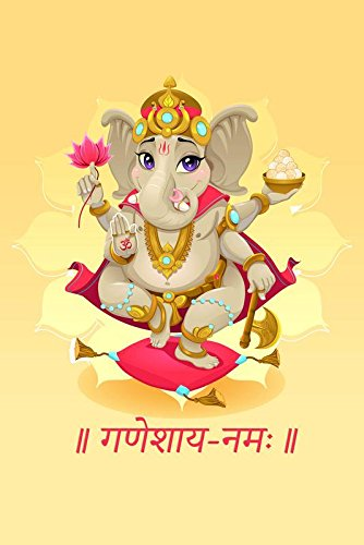 PosterGully Poster - Ganesha with Flower in Hand Spiritual Posters   Wall Art Poster  available at amazon for Rs.192
