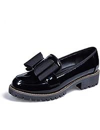 Zapatos De Mujer Plataforma Bowtie Oxfords Tacones Bajos Cuero De Charol Chunky Heel Slip En Calzado