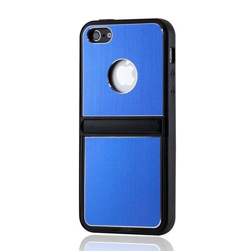 Gearonic av-5246dpuib gebürstetes Aluminium Metall Inlay TPU Fall mit Chrom Stehen Für iPhone 5-Umständen Verpackung-Blau Chrom-metall-fall