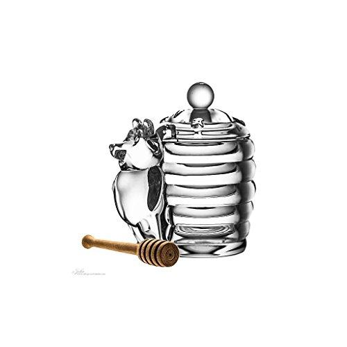 "Honigdose mit Bär, Honigspender ""HONEYBEAR"" 280ml, H=16cm, transparent, Kristallglas, moderner Style (GERMAN CRYSTAL by CRISTALICA)"
