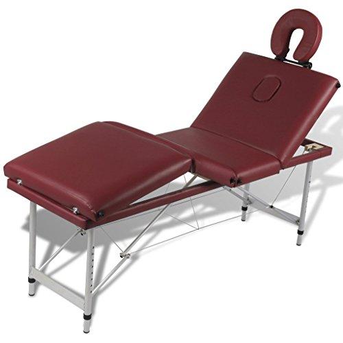 Anself Massageliege 4 Zonen Massagetisch Massagebank mit Aluminiumrahmen Faltbar Rot