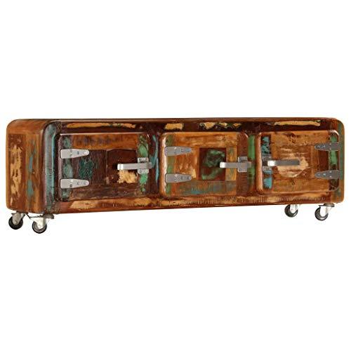 Este mueble para la TV de estilo antiguo destila un encanto vintage. Definitivamente será un aporte cautivador en su casa. El mueble para la televisión está hecho de madera maciza reciclada que ha sido obtenida de vigas, suelos y vigas de apoyo de ed...