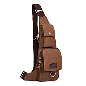 MB-16 Pro New Popular Canvas Chest Bag Triangle Bag Messenger Bags Multi Purpose School Sports Traveling Gym Cycling Biking Bag Unbalance Backpack Shoulder Sling Chest Bicycle Pack Bags - (Coffee: 39CM × 15CM × 5CM)