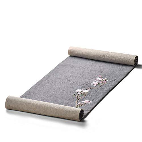 QAWS Tischläufer Chinesische Baumwolle Leinen Magnolie Stickerei Zen Tee Matte Pflanze Stickerei Tisch Flagge Tee Reim Stoff Handwerk 100 * 30 cm,200 * 30cm Arabesque Tee