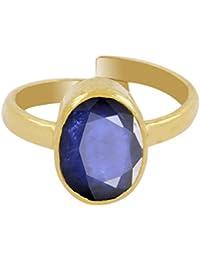 NirvaanaGems Certified 7.25 Ct Blue Sapphire (Neelam) Ring In Panchdhatu Metal