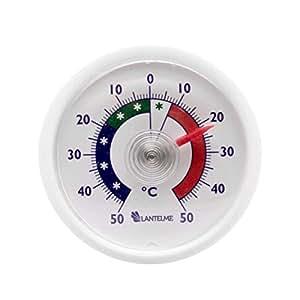 Lantelme rundes Bimetall Analog Klebe Kühlschrankthermometer Kunststoff Farbe weiss 2456