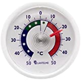 Lantelme rundes Bimetall Analog Klebe Kühlschrankthermometer . Kunststoff Farbe weiss 2456
