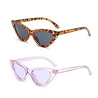 YOSHYA Retro Vintage Narrow Cat Eye Sunglasses for Women Clout Goggles Plastic Frame (Leoaprd Grey + Clear Purple/Purple)