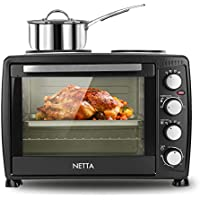 NETTA 35L Electric Mini Oven with Hob (Double Hotplate) and Grill, Including Multiple Cooking Functions, Adjustable Temperature Control and Timer - Accessories Included - 1500W