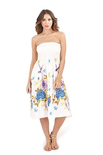 Pistachio Damen 3 In 1 Blumen-bandeau Midi Kleid Blau Blumen 2