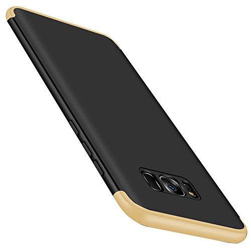 Galaxy S8/S8 Plus Hülle,3 in1 Ultra Dünner PC Scrub Harte Case 360°Schutz Handy Ganzkörper Anti-Scratch Kratzer Shell für Samsung S8P/S 8+ Cover 6,2 Zoll, Black+Gold, Galaxy S8 5.8 (3 In1 Handy)
