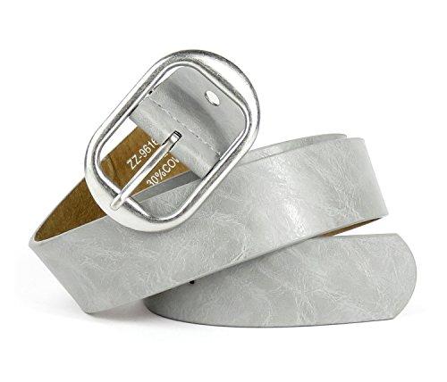 Basic Gürtel Unisex Metall Schnalle einfarbig metallic (- Jeans-metallic-gürtel)