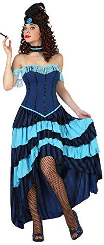 Cancan Kostüm - Atosa 22952 - Cabaret Kostüm, Größe XL, hell-/blau