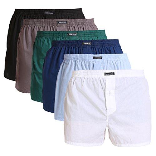Lower East Herren American Boxershorts, 6er Pack, Mehrfarbig (Schwarz/Weiß/Blau/Grün/Hellblau/Grau), Gr. X-Large