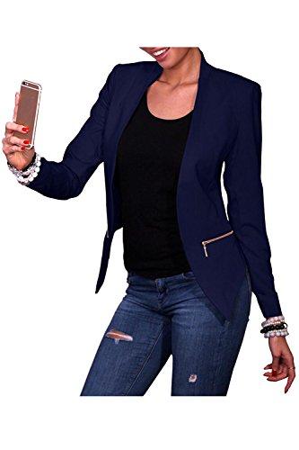 Beaii Damen Blazer kragenlos mit Taschen Elegant Cardigan mit Zipper Kurz Jacke Mantel Langarm Outerwear