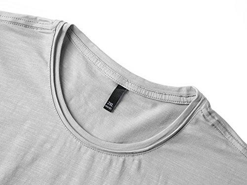 Mocotono Herren Einfarbige T-Shirts Rundhalsausschnitt mit Super Qualität Grau