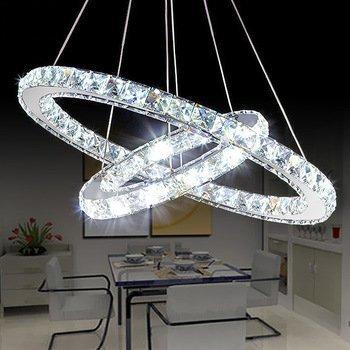 """Saint Mossi Modern Circular Led Kristall Kronleuchter Verstellbare Hängeleuchte Tania Double Collection Zeitgenössische Decke Pendelleuchte H39 """"X D24"""""""