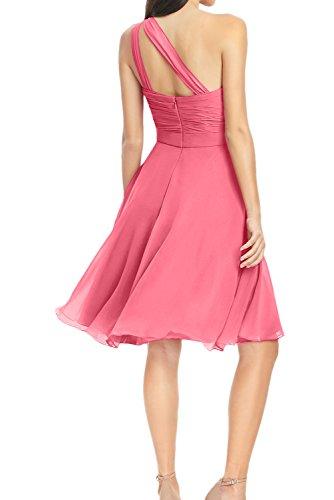 Ivydressing Sweetheart A-Linie ein Schulter Falte Ruecken mit Schnuerung Kurz aermellos Chiffon Festkleid Abendkleid Ballkleid Partykleid Orange