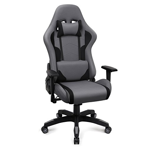Gaming Stuhl, Racing Bürostuhl Stoff, Ergonomischer Computerstuhl Drehstuhl mit Hoher Rückenlehne, Grau