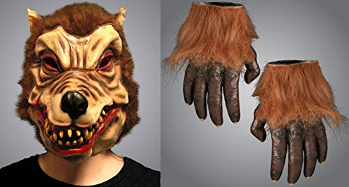 Halloween Wolf Mann Maske & Wolf Hände Fancy Kleid Party Dekoration Animal Unisex Erwachsene Zubehör Fun Kostüm Handschuhe Finger (Kostüme Wolf Geschirr)