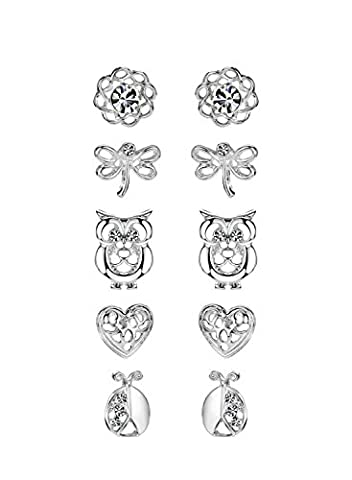Neoglory Jewellery 5 Paare Kinder Ohrringe Silber Blume Fisch Herz Eule Libelle allergiefrei