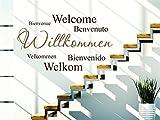 Wandtattoos Wohnzimmer Sprüche Willkommen in verschiedenen Sprachen Wohnzimmer Schlafzimmer Aufkleber