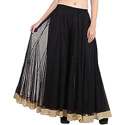 Shararat Women's Net Palazzo Pants Free Size Black