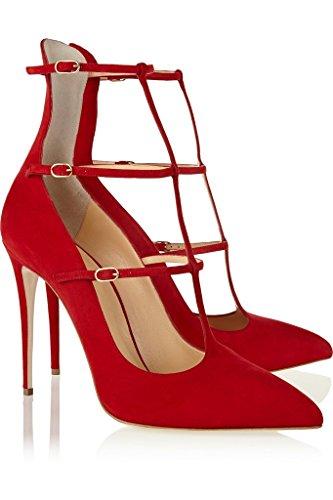 Rot Drei Damenschuhe Doerless Schuhe Stiletto 100mm Partei EDEFS Faschion Heel High Muse Buckle Straps 1xnO4qHwB6
