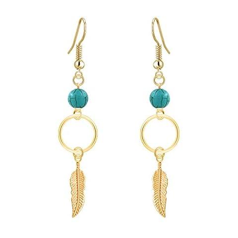 ZPXLGW Laisse Boucles D'oreilles Pendantes En Plumes Turquoise,OneColor-OneSize