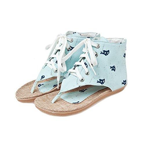 VogueZone009 Damen Reißverschluss Gewebe Tier Stoffdruck Zehentrenner Sandalen Blau