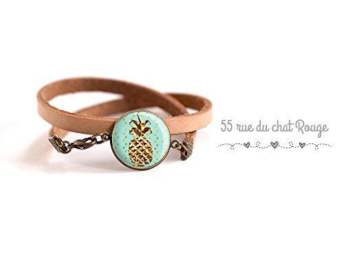 bracelet-cuir-naturel-cabochon-ananas-fruit-exotique-bleu-pastel-dore-finition-bronze