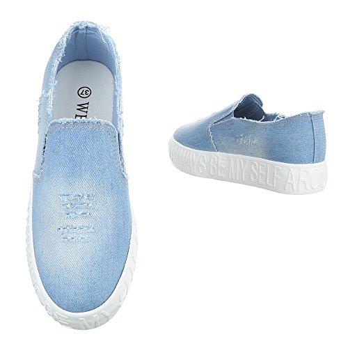Ital-Design - Pantofole Donna Hellblau FYM-103