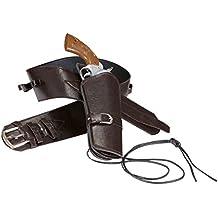 Holster Revolver Cowboy Porte-Pistolet Sheriff Marron Ceinture Western Poche pour Pistolet Costume Cowboy