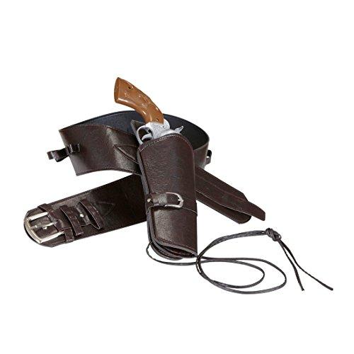NET TOYS Pistolenhalfter braun Sheriff Westerngürtel Western Pistolenholster Cowboy Gürtel Colt Colttasche Pistole Halterung Pistolenhalterung Waffengürtel Kostüm Zubehör