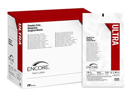 Ansell Medical 353313 Encore Ultra, gant chirurgical stérile en néoprène non poudré, taille 6.5, Crème (Pack de 50)